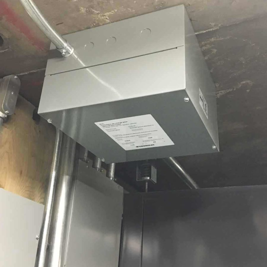 DCC-9 ceiling mount installation, to allow for EV home charging in a condo.